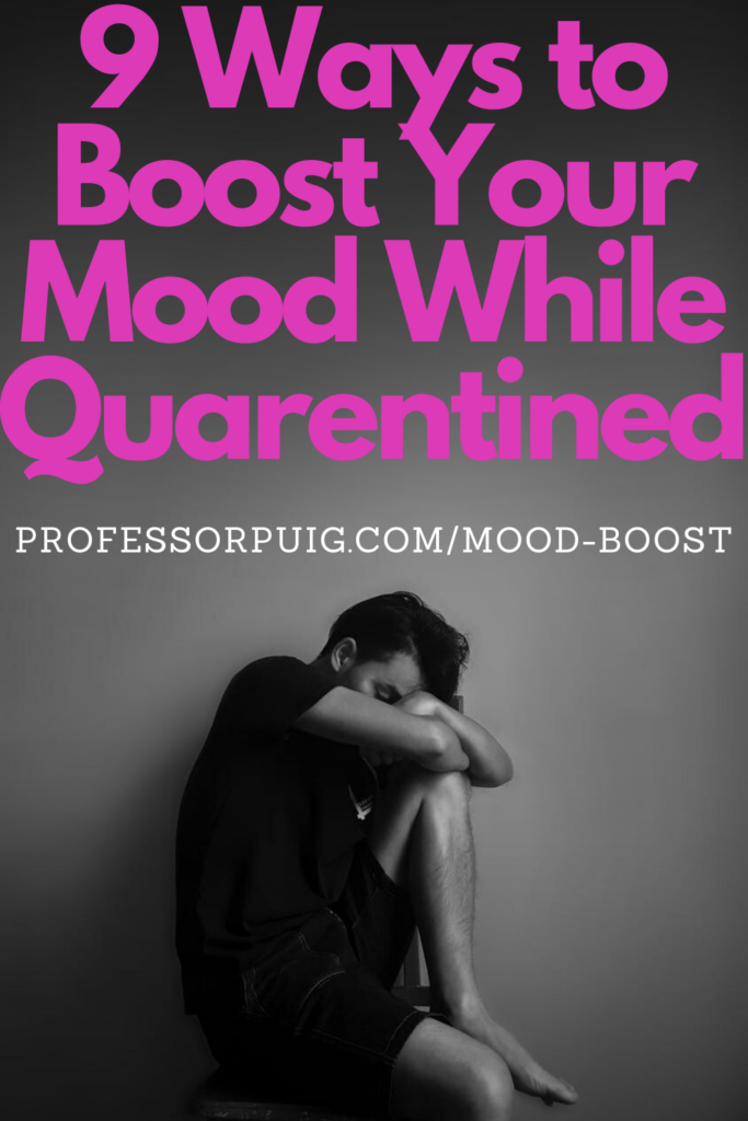 Sad-looking man appears in front of caption advertising 9 ways to boost your mood